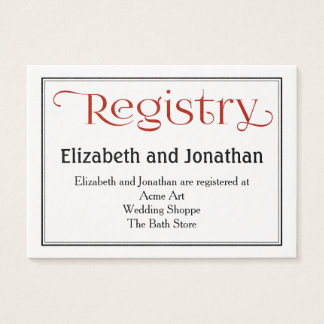 Red Wedding Registry Business Cards Templates Zazzle