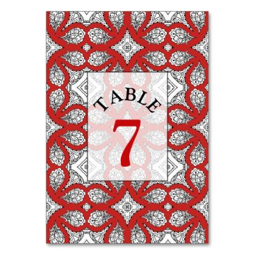 Wedding Themed Red, Black and white Wedding Table Number Card