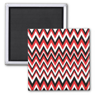 Red Black and White Zig Zag Pattern Magnet