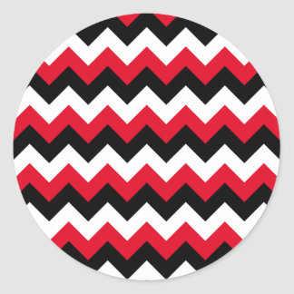 Red Black and White Zigzag Classic Round Sticker