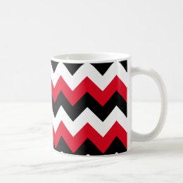 Red Black and White Zigzag Coffee Mug