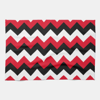 Red Black and White Zigzag Hand Towel