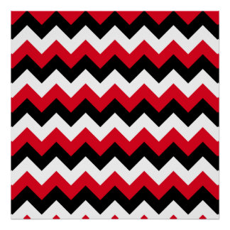 Red Black and White Zigzag Poster