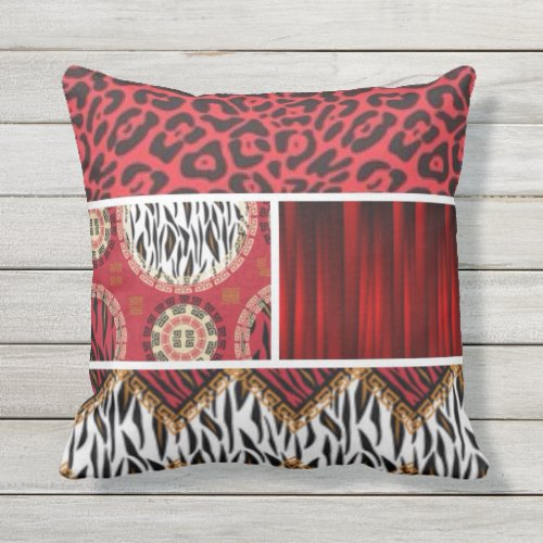 Red & Black Animal Print Collage Outdoor Pillow