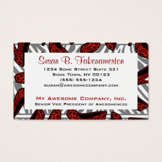 Red & Black Animal Print High Heel Shoe Business Card