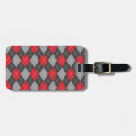 Red black argyle pattern bag tags