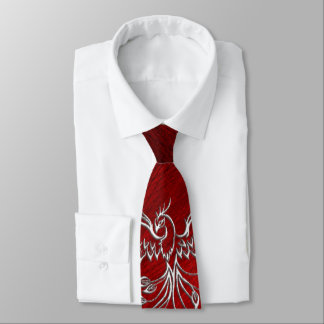 Red Black Ashes and Phoenix Neck Tie