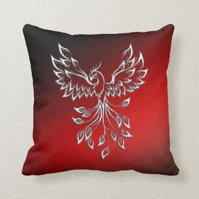 Red Black Ashes and Phoenix Throw Pillow