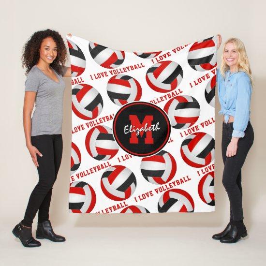 red black athletic room decor I love volleyball Fleece Blanket