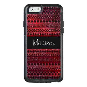 Aztec Themed Red Black Aztec Tribal Space Stars Glitter OtterBox iPhone 6/6s Case
