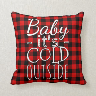 Red Black Baby Its Cold Outside Plaid Pattern Throw Pillow