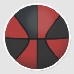 Red & Black Basketball: Classic Round Sticker