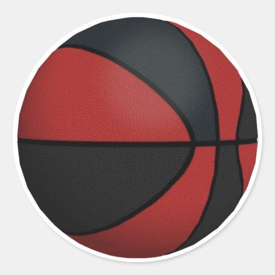 Red & Black Basketball: Classic Round Sticker