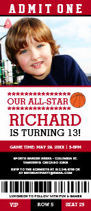 Basketball birthday invitations zazzle red black basketball ticket birthday invites filmwisefo