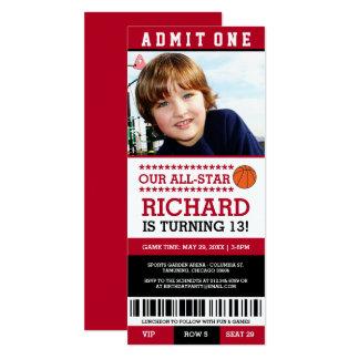 Red & Black Basketball Ticket Birthday Invites