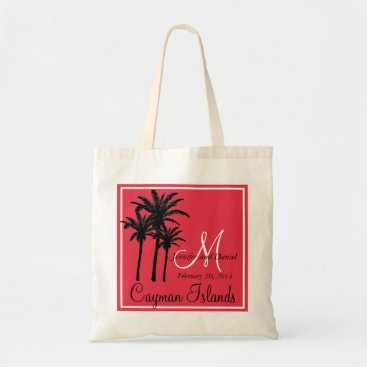Beach Themed Red Black Beach Wedding Palm Trees Tote Bag