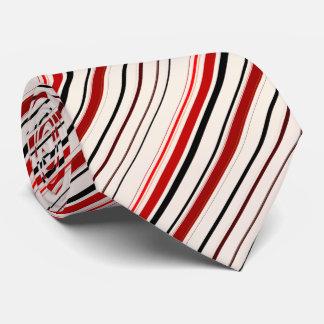 Red Black Beige Brown Stripes Neck Tie