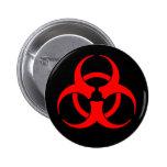 Red & Black Biohazard Symbol Button