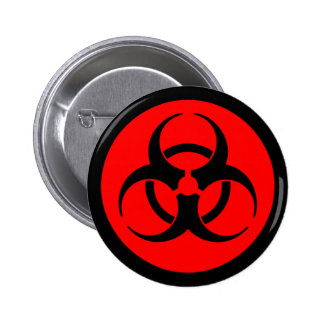 Red & Black Biohazard Symbol Button