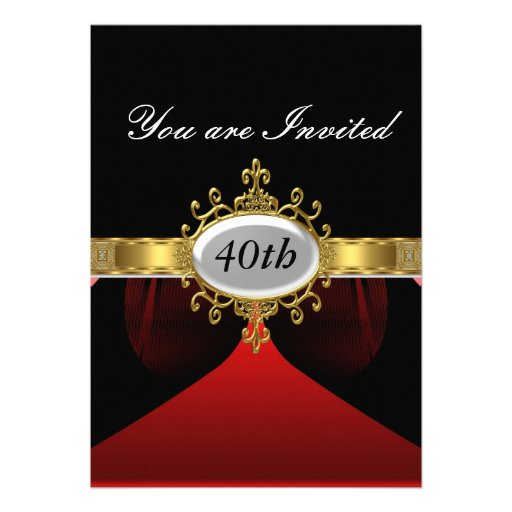 Red Black  Birthday Party Glamour Invitation