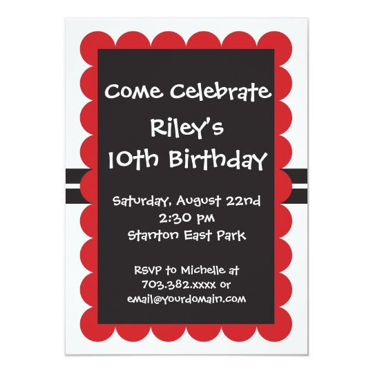 red black birthday party invitations templates boy zazzle com