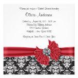 Red Black Black Damask Bridal Shower Custom Invitation