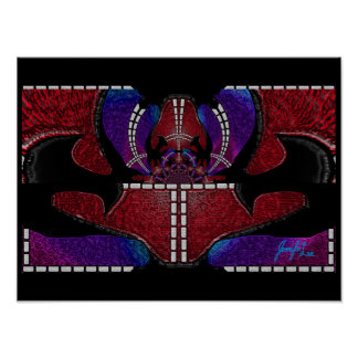 Red Black Blue Abstract Art Poster