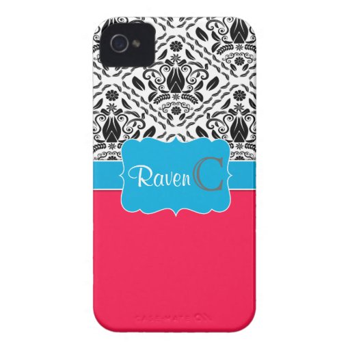 Red, Black, Blue monogrammed damask iPhone 4/4s Case-Mate iPhone 4 Case