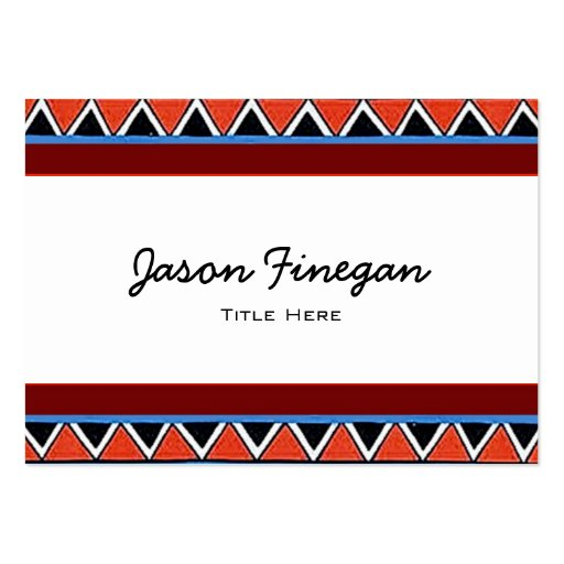 Red~Black~Blue~White Sawtooth Pattern Large Business Cards (Pack Of 100)