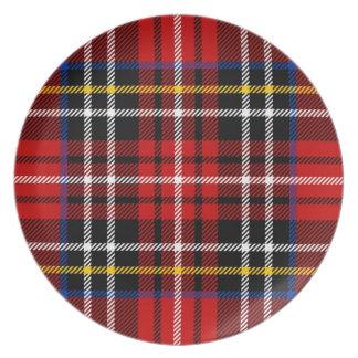 Red, black, blue, yellow and white tartan dinner plate