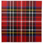 Red, black, blue, yellow and white tartan printed napkins