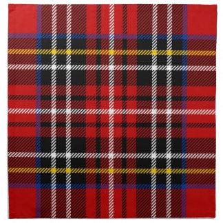Red, black, blue, yellow and white tartan napkins