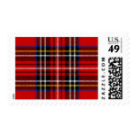 Red, black, blue, yellow and white tartan postage