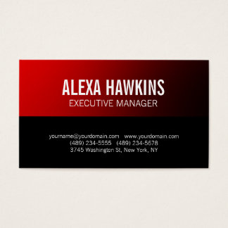 Red Black Bold Text Stylish Modern Professional Business Card