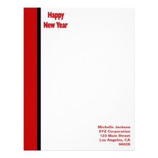 Red Black Border Happy New Year Letterhead