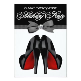 Red Black Bow Tie Womans Birthday Party 5x7 Paper Invitation Card
