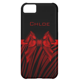 Red Black Bow Zebra Print iPhone 5C Cover