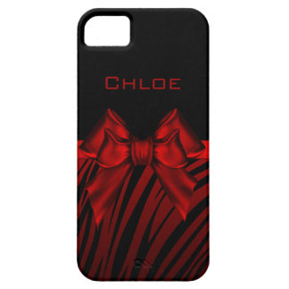 Red Black Bow Zebra Print iPhone 5 Cover