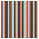 [ Thumbnail: Red, Black, Brown, and Light Blue Pattern Fabric ]