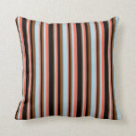 [ Thumbnail: Red, Black, Brown, and Light Blue Pattern Pillow ]