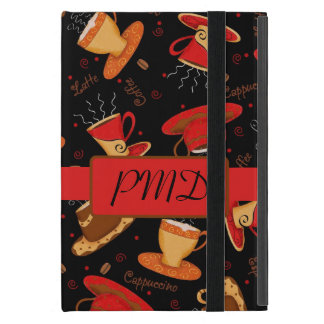 Red Black Brown Coffee Cups Name Monogram Initial Case For iPad Mini