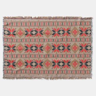Red Black Brown Crochet Knit Pattern Throw