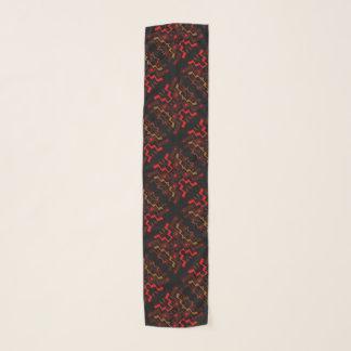 Red Black Brown Ethnic Pattern Chiffon Scarf