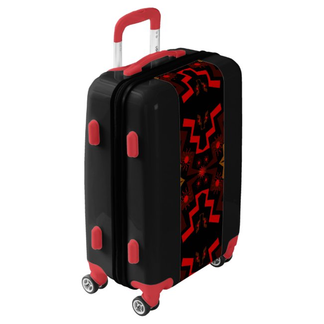 Red Black Brown Ethnic Pattern Luggage