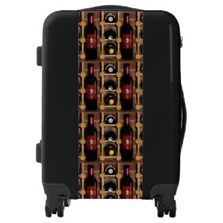 Red Black Brown Wine Bottles Abstract Luggage