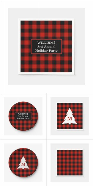 Red Black Buffalo Check Holiday Party Supplies