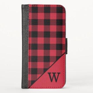 Red Black Buffalo Check Pattern Custom Monogram iPhone XS Wallet Case