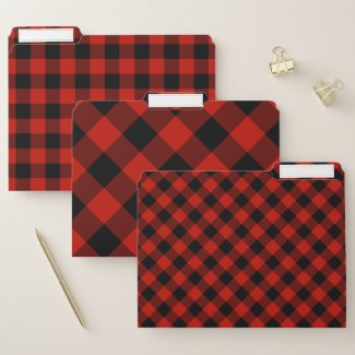Red Black Buffalo Check Pattern File Folder
