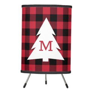 Red Black Buffalo Check Pattern Monogrammed Tree Tripod Lamp