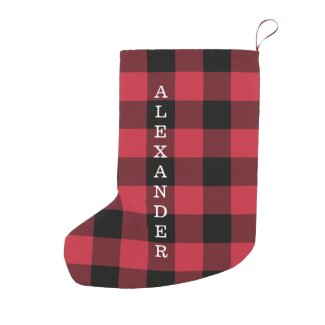 Red Black Buffalo Check Pattern Vertical Name Small Christmas Stocking